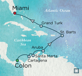 7 Seas Luxury Cruises - Crystal Cruises Symphony Caribbean Reflections Map