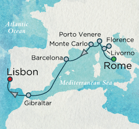Southern Europe Soliloquy Map Crystal Cruises Symphony 2016