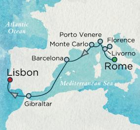 7 Seas Luxury Cruises - Southern Europe Soliloquy Map Crystal Cruises Symphony