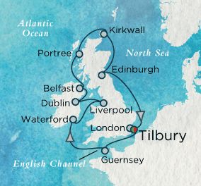 7 Seas Luxury Cruises - Grand Britannia Map Crystal Cruises Symphony