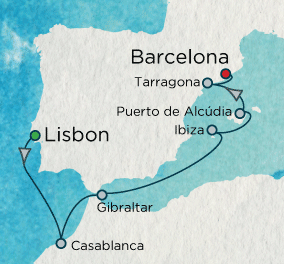 SINGLE Cruise - Balconies-Suites Accent on Spain Map SINGLE Cruise Balconies-Suites Crystal CRUISE Symphony 2019