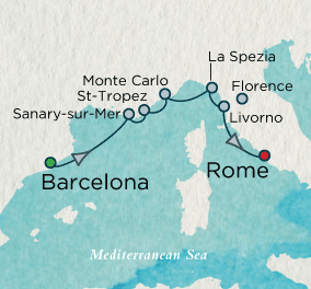 7 Seas Luxury Cruises - A Taste of the Riviera Map Crystal Cruises Symphony
