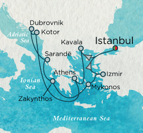 7 Seas Luxury Cruise - Beyond the Aegean Map Crystal Cruises Symphony
