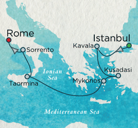 7 Seas Luxury Cruise - Classic Mediterranean Map Crystal Luxury Cruise Symphony
