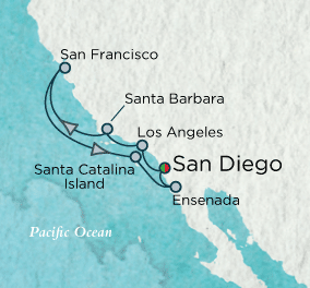 7 Seas Luxury Cruises - California Cachet Map Crystal Cruises Symphony