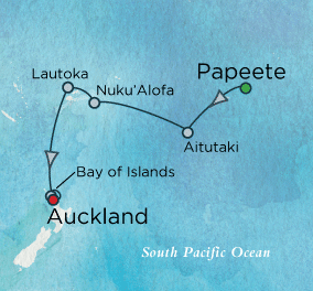 Isles of the South Pacific Map Crystal Cruises Symphony 2016