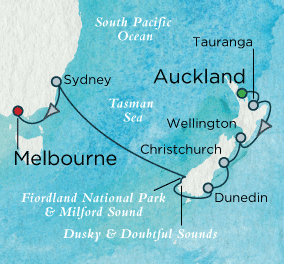 7 Seas Luxury Cruises - Holidays Down Under Map Crystal Cruises Symphony