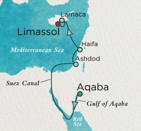 Crystal Luxury Cruises Esprit Map Detail Petra (Aqaba), Jordan to Limassol, Cyprus April 8-16 2018 - 8 Days