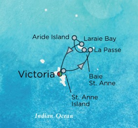Crystal Luxury Cruises Esprit Map Detail Dubai, United Arab Emirates to Victoria, Seychelles January 8-14 2018 - 7 Days
