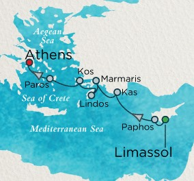 LUXURY CRUISES - Balconies and Suites Crystal Esprit Cruise Map Detail Limassol, Cyprus to Athens (Piraeus), Greece April 3-10 2019 - 7 Days