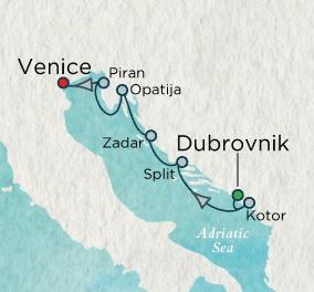 SINGLE Cruise - Balconies-Suites Crystal Esprit Cruise Map Detail Dubrovnik, Croatia to Venice, Italy August 21-28 2019 - 7 Nights