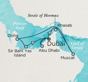 Singles Cruise - Balconies-Suites Crystal Esprit Cruise Map Detail Dubai, United Arab Emirates to Dubai, United Arab Emirates December 23 2019 January 3 2020- 11 Days
