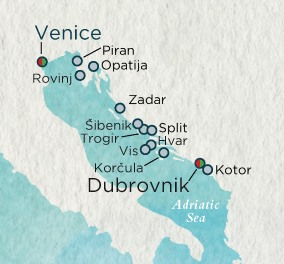 LUXURY CRUISES - Penthouse, Veranda, Balconies, Windows and Suites Crystal Esprit Cruise Map Detail Venice, Italy to Venice, Italy July 31 August 14 2019 -14  Days