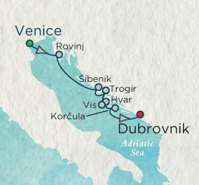 SINGLE Cruise - Balconies-Suites Crystal Esprit Cruise Map Detail Venice, Italy to Dubrovnik, Croatia June 5-12 2019 - 7 Nights
