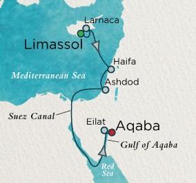 LUXURY CRUISES - Balconies and Suites Crystal Esprit Cruise Map Detail Limassol, Cyprus to Petra (Aqaba), Jordan November 13-23 2019 - 10 Days