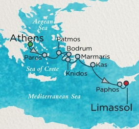 Single-Solo Balconies-Suites Crystal Esprit Cruise Map Detail Athens (Piraeus), Greece to Limassol, Cyprus November 6-13 2021 - 7 Nights