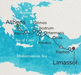 Crystal Esprit Cruise Map Detail Athens (Piraeus), Greece to Limassol, Cyprus November 6-13 2016 - 7 Days