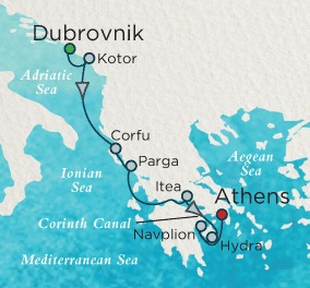 LUXURY CRUISES - Balconies and Suites Crystal Esprit Cruise Map Detail Dubrovnik, Croatia to Athens (Piraeus), Greece October 30 November 6 2019 - 7 Days