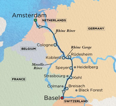 Crystal Luxury Cruises River Bach Cruise Map Detail Amsterdam, Netherlands to Basel, Switzerland December 3-13 2017 - 10 Days
