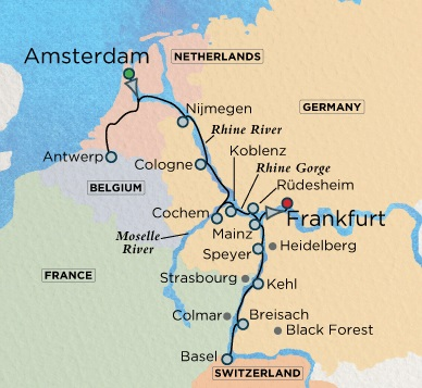 Crystal Luxury Cruises River Bach Cruise Map Detail Frankfurt, Germany to Amsterdam, Netherlands July 2-16 2024 - 14 Days