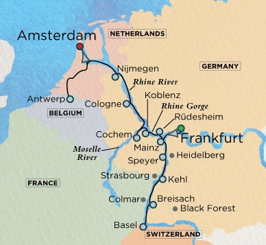 Crystal Luxury Cruises Crystal River Bach Cruise Map Detail Amsterdam, Netherlands to Frankfurt, Germany June 10-24 2018 - 14 Days