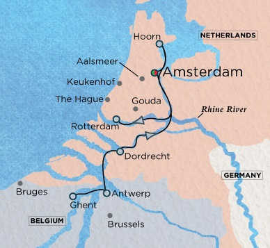 Crystal Luxury Cruises River Bach Cruise Map Detail Amsterdam, Netherlands to Amsterdam, Netherlands March 26 April 7 2018 - 12 Days