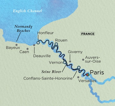 Crystal Luxury Cruises River Debussy Cruise Map Detail Paris, France to Paris, France July 15-25 2018 - 10 Days