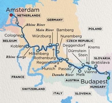 Crystal Luxury Cruises River Mahler Cruise Map Detail  Budapest, Hungary to Amsterdam, Netherlands July 15-31 2018 - 16 Days