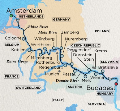 Crystal Luxury Cruises River Mahler Cruise Map Detail  Amsterdam, Netherlands to Budapest, Hungary July 31 August 16 2018 - 16 Days
