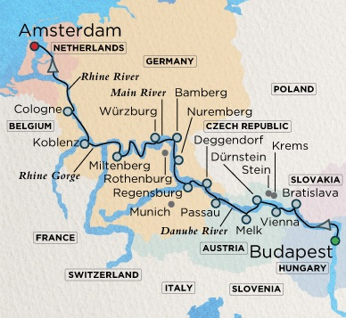 Crystal Luxury Cruises Crystal River Mahler Cruise Map Detail  Budapest, Hungary to Amsterdam, Netherlands June 13-29 2018 - 16 Days