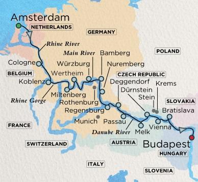 Crystal Luxury Cruises River Mahler Cruise Map Detail  Amsterdam, Netherlands to Budapest, Hungary May 28 June 13 2018 - 16 Days