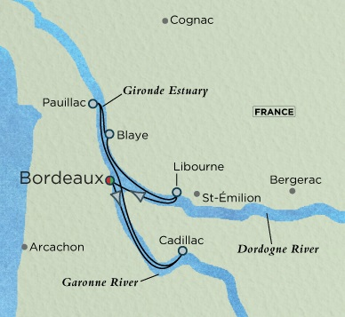 Crystal Luxury Cruises River Ravel Cruise Map Detail Bordeaux, France to Bordeaux, France August 21-28 2018 - 7 Days