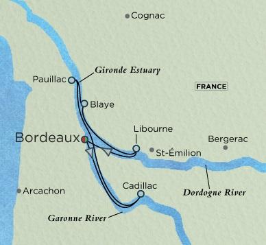 Crystal Luxury Cruises River Ravel Cruise Map Detail Bordeaux, France to Bordeaux, France November 20-27 2018 - 7 Days