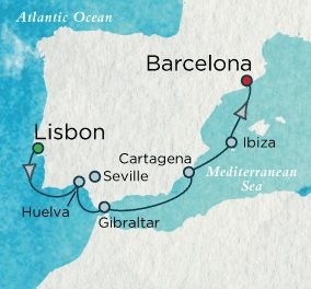 LUXURY CRUISE - Balconies-Suites Crystal Cruises Serenity 2020 April 29 May 6 Lisbon, Portugal to Barcelona, Spain