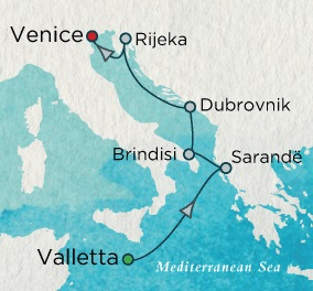 HONEYMOON Crystal Serenity 2021 August 13-20 Valletta, Malta to Venice, Italy
