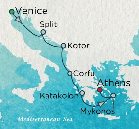 Singles Cruise - Balconies-Suites Crystal Cruises Serenity 2020 August 20-27 Venice, Italy to Athens (Piraeus), Greece