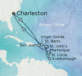 Singles Cruise - Balconies-Suites Crystal Cruises Serenity 2020 December 20 january 3 2018 Charleston, SC to Charleston, SC