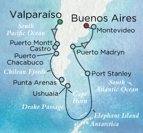 Singles Cruise - Balconies-Suites Crystal Cruises Serenity 2020 February 8 March 3 Santiago (Valparaiso), Chile to Buenos Aires, Argentina