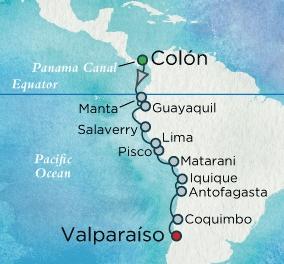 Singles Cruise - Balconies-Suites Crystal Cruises Serenity 2020 January 22 February 8 Colon, Panama to Santiago (Valparaiso), Chile