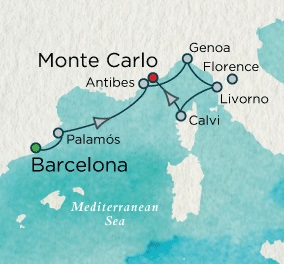 Singles Cruise - Balconies-Suites Crystal Cruises Serenity 2020 July 16-23 2020 Barcelona, Spain to Monte Carlo, Monaco