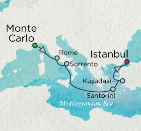 Singles Cruise - Balconies-Suites Crystal Cruises Serenity 2020 July 23 August 1 2020 Monte Carlo, Monaco to Istanbul, Turkey