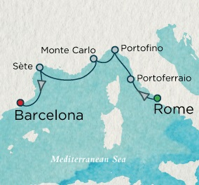Singles Cruise - Balconies-Suites Crystal Cruises Serenity 2020 July 9-16 Rome (Civitavecchia), Italy to Barcelona, Spain