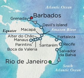 Singles Cruise - Balconies-Suites Crystal Cruises Serenity 2020 march 14 april 5 Rio de Janeiro, Brazil to Barbados