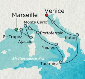 Singles Cruise - Balconies-Suites Crystal Cruises Serenity 2020 May 23 June 4 Marseille, France to Venice, Italy