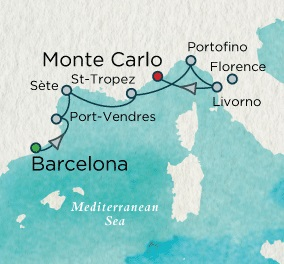 Singles Cruise - Balconies-Suites Crystal Cruises Serenity 2020 May 6-13 Barcelona, Spain to Monte Carlo, Monaco