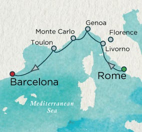 Singles Cruise - Balconies-Suites Crystal Cruises Serenity 2020 September 17-24 Rome (Civitavecchia), Italy to Barcelona, Spain