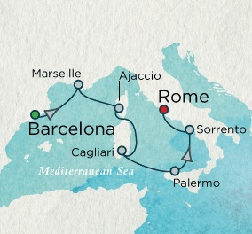 Singles Cruise - Balconies-Suites Crystal Cruises Serenity 2020 September 24 October 1 Barcelona, Spain to Rome (Civitavecchia), Italy