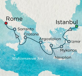Singles Cruise - Balconies-Suites Crystal Cruises Serenity 2020 September 5-17 Istanbul, Turkey to Rome (Civitavecchia), Italy