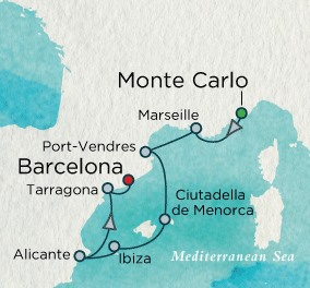 Crystal Luxury Cruises Serenity Map Detail Monte Carlo, Monaco to Barcelona, Spain August 12-19 2025 - 7 Days