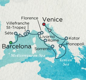 Crystal Luxury Cruises Crystal Cruises Serenity Map Detail Barcelona, Spain to Venice, Italy August 19-31 2018 - 12 Days